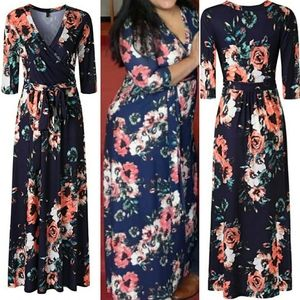 Floral maxi dress 3/4 length sleeves